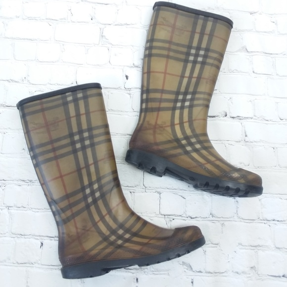 Burberry Shoes Tall Rain Boots Haymarket Check Poshmark